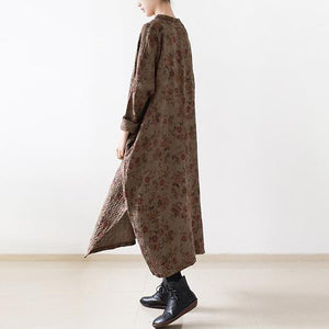 Brown floral oversize cotton dresses vintage plus size caftans linen dress
