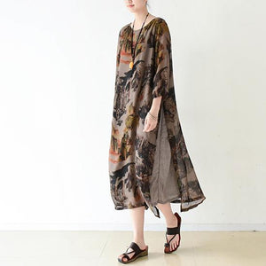 Brown flowy print chiffon dresses maxi dress long sleeve cotton lining