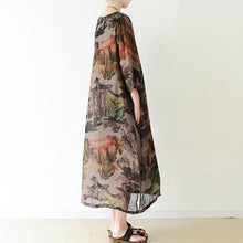 Load image into Gallery viewer, Brown flowy print chiffon dresses maxi dress long sleeve cotton lining