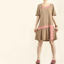 Load image into Gallery viewer, Brown high end sundress natural cotton linen summer dress-will be available soon