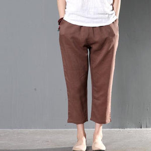 Brown linen trousers crop pants women summer