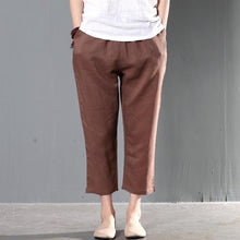 Load image into Gallery viewer, Brown linen trousers crop pants women summer