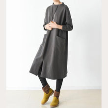 Laden Sie das Bild in den Galerie-Viewer, Brown oversize big pockets cotton dresses long pullover shirts