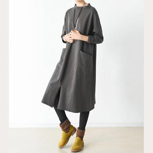 Brown oversize big pockets cotton dresses long pullover shirts
