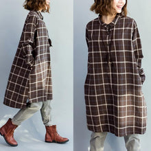 Load image into Gallery viewer, Brown plaid oversize cotton dresses long sleeve blouses linen shirts