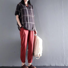 Load image into Gallery viewer, Brown plaid simple cotton blouse women shirt plus size short top