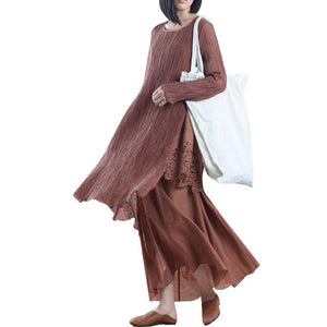 Brown pleated layered linen dress maxis cotton spring dress