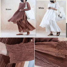 Load image into Gallery viewer, Brown pleated layered linen dress maxis cotton spring dress