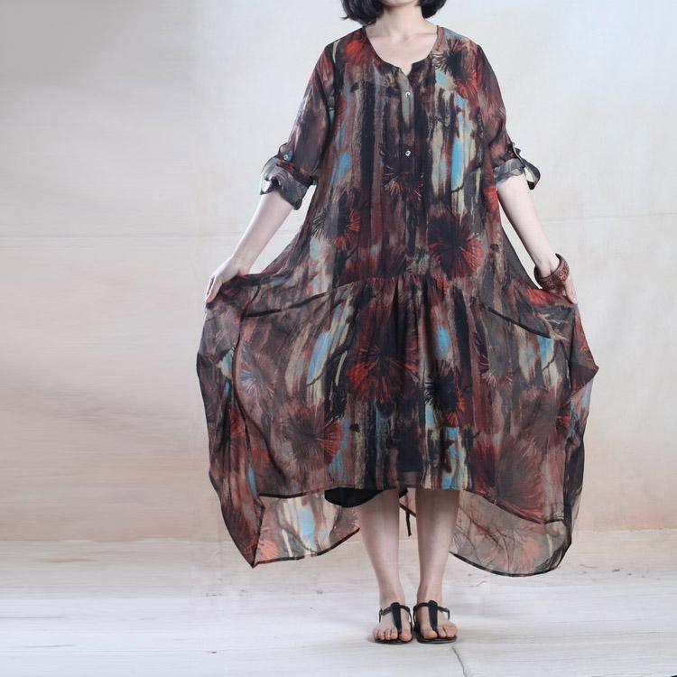Brown summer floral maxi dress chiffon long sundress plus size holiday dress gown party dress