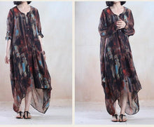 Load image into Gallery viewer, Brown summer floral maxi dress chiffon long sundress plus size holiday dress gown party dress