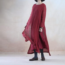 Load image into Gallery viewer, Brugundy layered long linen dress maxis oversize floor length linen dresses