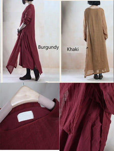 Brugundy layered long linen dress maxis oversize floor length linen dresses