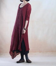 Load image into Gallery viewer, Burgundy spring linen dress layered long linen maxi dress