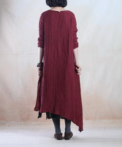 Burgundy spring linen dress layered long linen maxi dress