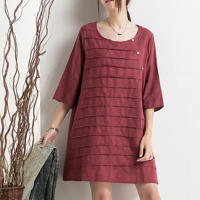 Burgundy Vintage sundress cotton dresses for summer plus size maternity dress blouse half sleeve
