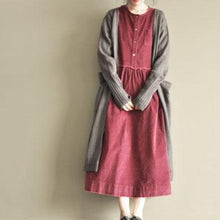 Load image into Gallery viewer, Burgundy corduroy casual maxi dress three quarter sleeve dress