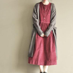 Burgundy corduroy casual maxi dress three quarter sleeve dress