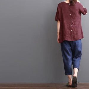 Burgundy cotton shirt summer women blouse top buttons back