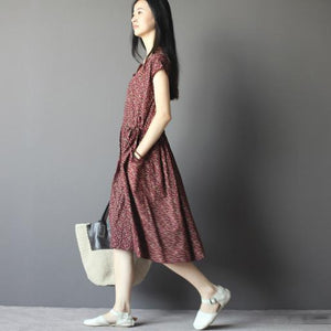 Burgundy cotton sundress fit flare dress plus size