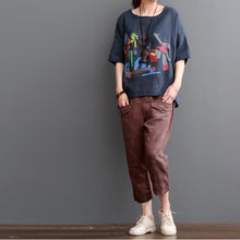 Load image into Gallery viewer, Top quality Burgundy crop pants linen pants trousers