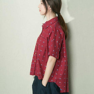 Burgundy dotted women summer shirt cotton blouse low high top