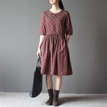 Load image into Gallery viewer, Burgundy fit flare sundress cotton maxi dress drawstring waist half sleeve