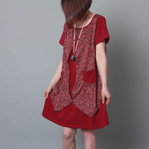 Burgundy layered sundress cotton floral plus size summer shift dress