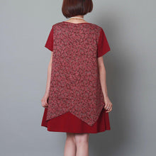 Load image into Gallery viewer, Burgundy layered sundress cotton floral plus size summer shift dress