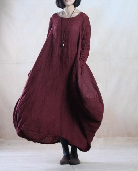 Burgundy linen caftan dress long linen dress maxis spring gown