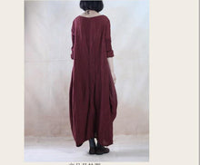 Load image into Gallery viewer, Burgundy linen caftan dress long linen dress maxis spring gown