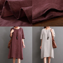 Load image into Gallery viewer, Burgundy linen dress plus size summer dresses