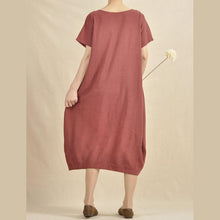 Load image into Gallery viewer, Burgundy linen dress plus size women sundress holiday maxi dress