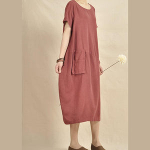 Burgundy linen dress plus size women sundress holiday maxi dress