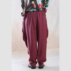 Burgundy linen harem pants top quality  fall trousers