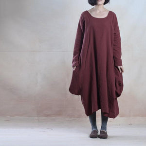 Burgundy linen maxi dress plus size baggy linen dress