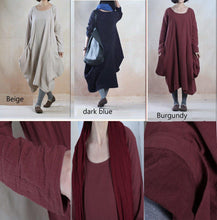 Load image into Gallery viewer, Burgundy linen maxi dress plus size baggy linen dress