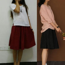 Laden Sie das Bild in den Galerie-Viewer, Burgundy linen short skirt summer linen skirts elastic waist