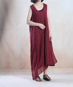 Burgundy linen vestidos linen sundress maxis sleeveless