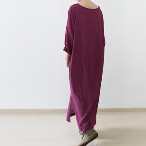 Burgundy long sleeve linen dresses fall winter linen clothing