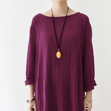 Load image into Gallery viewer, Burgundy long sleeve linen dresses fall winter linen clothing