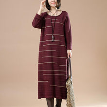 Laden Sie das Bild in den Galerie-Viewer, Burgundy long sweaters women knit dresses people coming and going