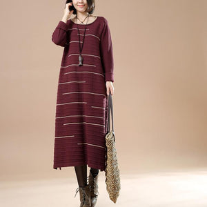Burgundy long sweaters women knit dresses people coming and going