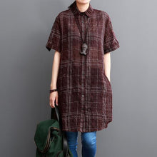 Load image into Gallery viewer, Burgundy plaid long women cotton shirt dresses sundress