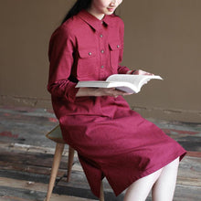 Load image into Gallery viewer, Burgundy plus size linen sundress oversize maternity summer dresses