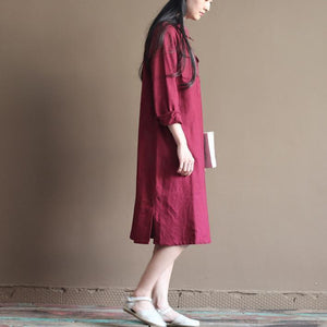 Burgundy plus size linen sundress oversize maternity summer dresses