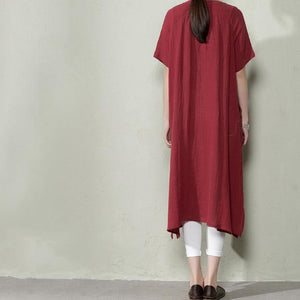 Burgundy plus size linen sundresses summer linen dresses long blouse shirt