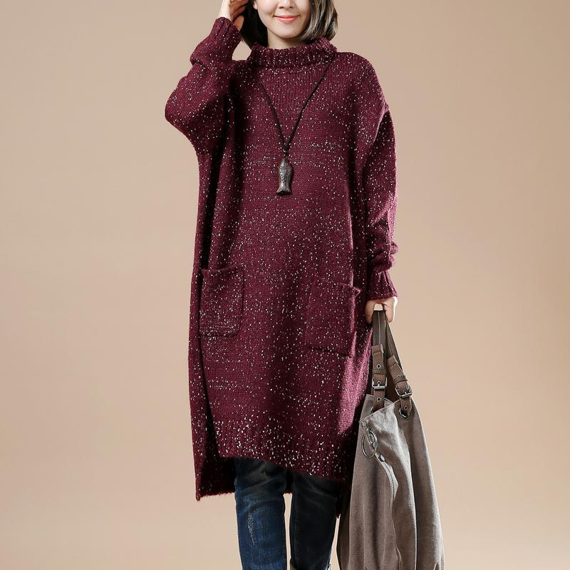 Burgundy plus size sweaters women knit winter dress the seceret Universe