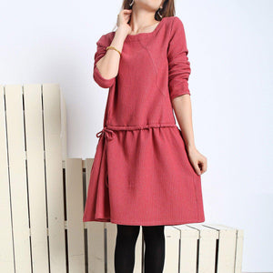 Burgundy spring dress loose fit flare dress