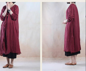Burgundy spring linen dress maxis long pleated dress - when a leaf turns green
