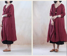 Laden Sie das Bild in den Galerie-Viewer, Burgundy spring linen dress maxis long pleated dress - when a leaf turns green